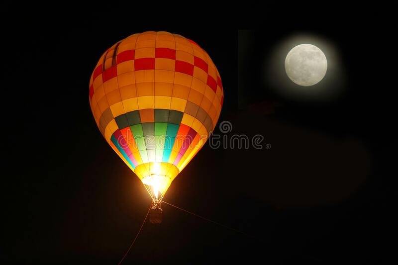 Hot Air Balloons with Moon in the Night. Hot Air Balloons with Moon in Night sky royalty free stock photos