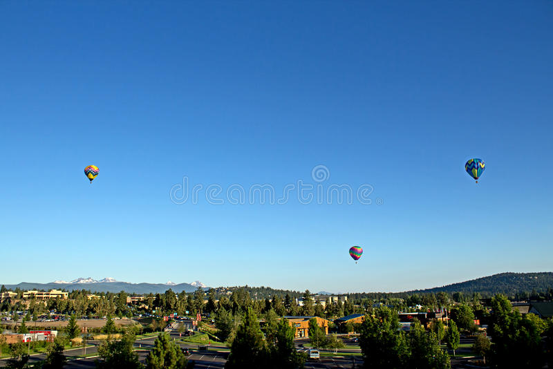 Hot Air Balloons Over Bend Oregon royalty free stock image