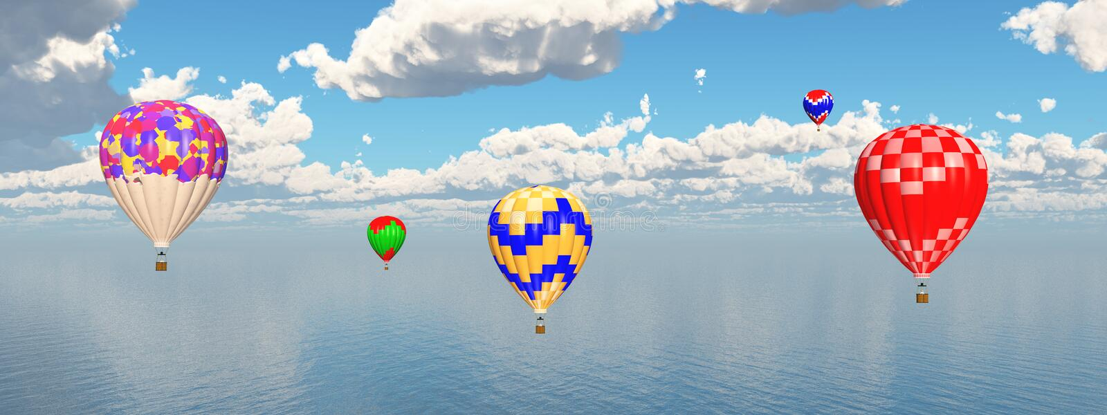 Hot air balloons over ocean. Computer generated 3D illustration with hot air balloons over ocean royalty free illustration