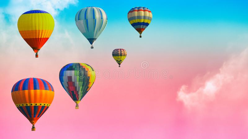 Hot air balloons over the soft cloud background on the sky with royalty free stock images