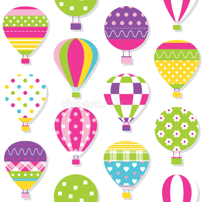 Hot air balloons pattern. Illustration of colorful hot air balloons collection on white background vector illustration