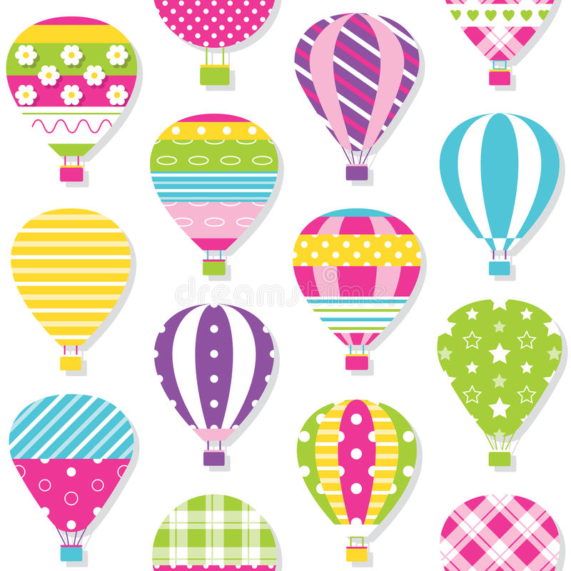 Hot air balloons pattern. Illustration of colorful hot air balloons collection on white background royalty free illustration