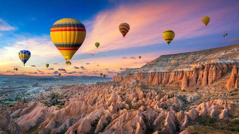 Hot Air Balloons And Red Valley At Sunset In Goreme Cappadocia In Turkey Stock Image Image Of Aerial Balloon 166868319