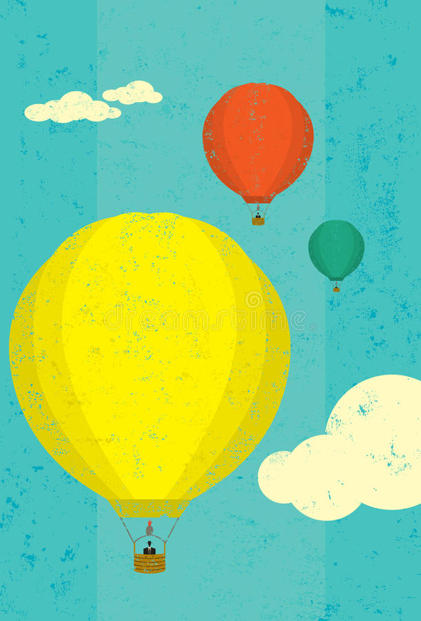 Hot air balloons. Rising in the sky. The balloons and sky are on separately labeled layers vector illustration