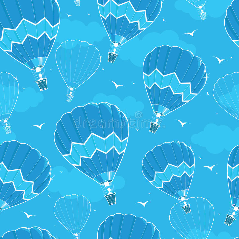 Hot air balloons seamless pattern background stock illustration