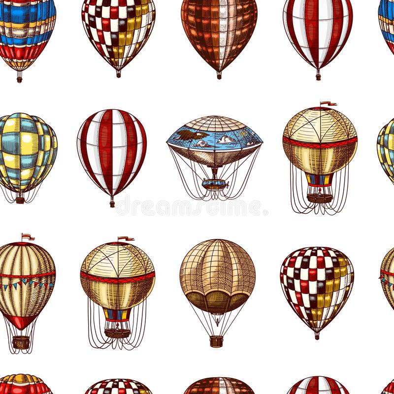 Hot Air Balloons seamless pattern. Vector retro flying airships. Template transport for Romantic background. Hand drawn royalty free illustration