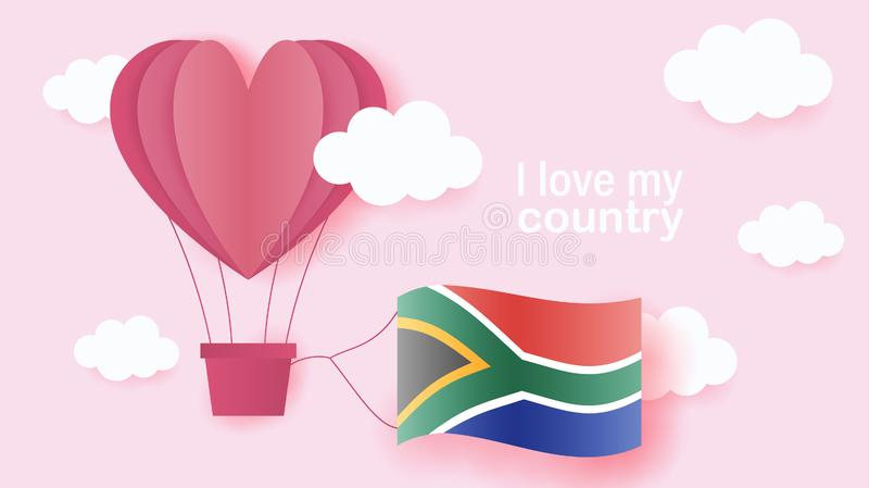 Hot air balloons in shape of heart flying in clouds with national flag of South Africa. Paper art and cut, origami style with love stock illustration