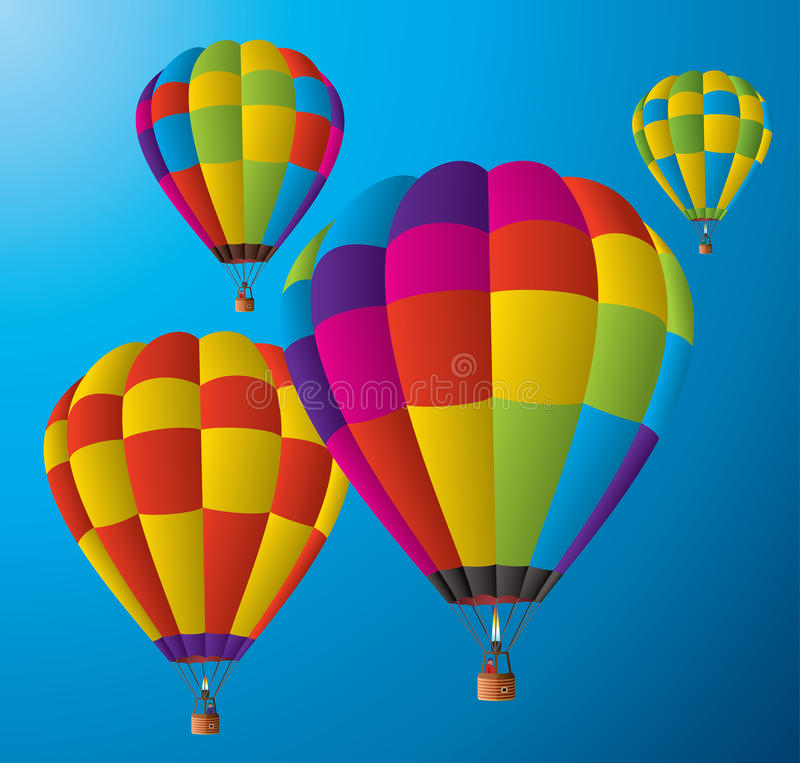 Hot air balloons in the sky vector illustration