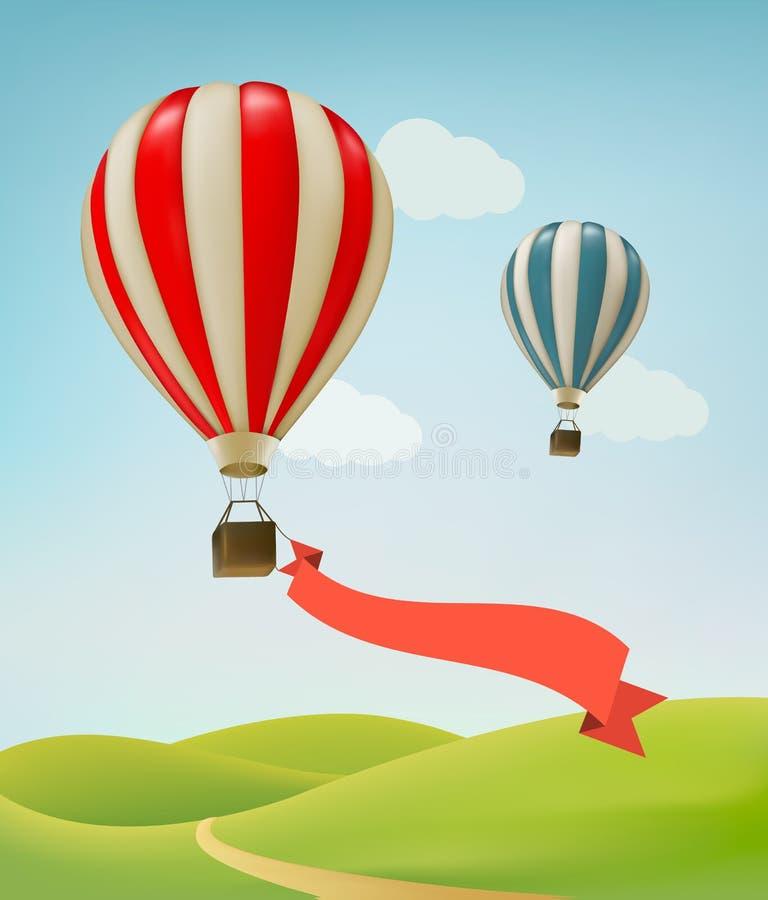 Hot air balloons in the sky. Vector vector illustration