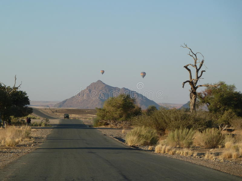 Hot air balloons, Sossusvlei Namibia. royalty free stock images