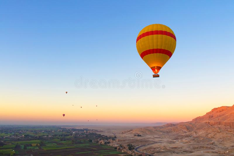 Hot Air Ballooning over the River Nile stock image