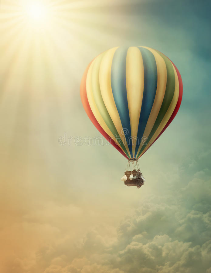 Hot air baloon. High in the sky stock photo
