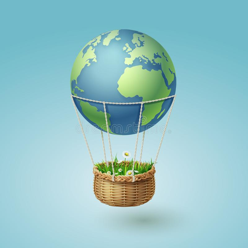 Hot air the earth balloon with a grass basket, world sustainable environment concept and ecology idea stock photos