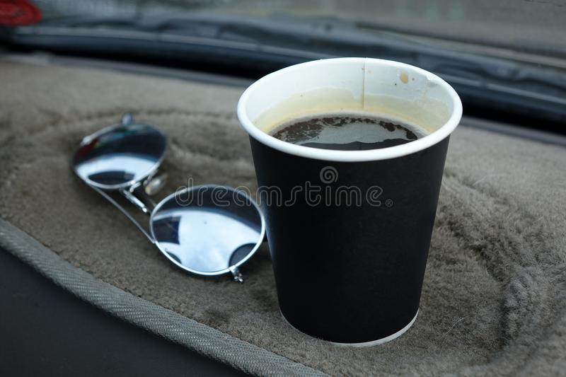 Hot Americano coffee in take away cup stock images