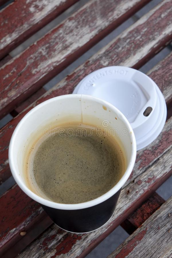 Hot Americano coffee in take away cup royalty free stock photography