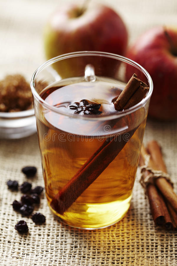 Hot apple punch. With cinnamon stock photo