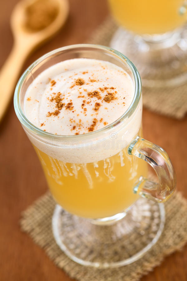 Hot Apple Punch. Homemade hot apple punch made of apple juice, ginger, anise and cinnamon with cinnamon whipped cream and cinnamon powder on top (Selective Focus stock photography