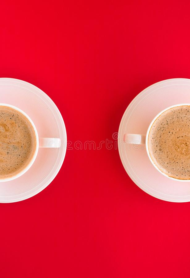 Hot aromatic coffee on red background, flatlay. Breakfast, drinks and modern lifestyle concept - Hot aromatic coffee on red background, flatlay stock images