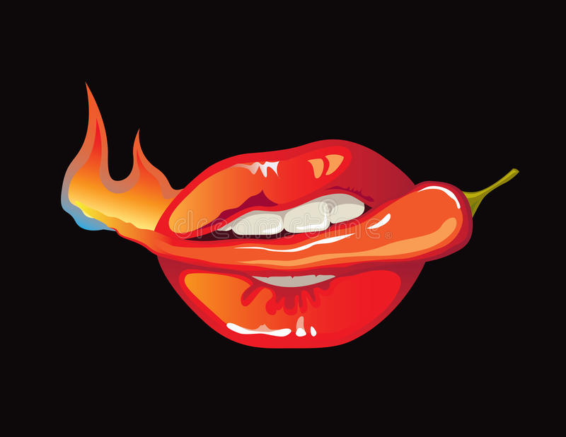 Hot as pepper. Vector illustration of womans mouth holding hot red pepper fruit in teeth vector illustration