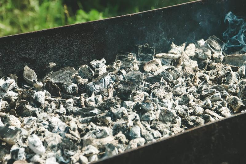 Hot ash in the barbecue in summer, barbecue stock images
