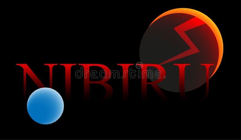 Hot 9 av planeten Nibiru för jorden och solsystemet stock illustrationer