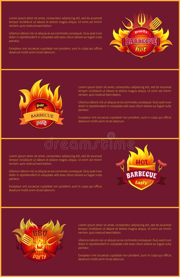 Hot Barbeque Party Vector Posters Set Burn Badges stock illustration
