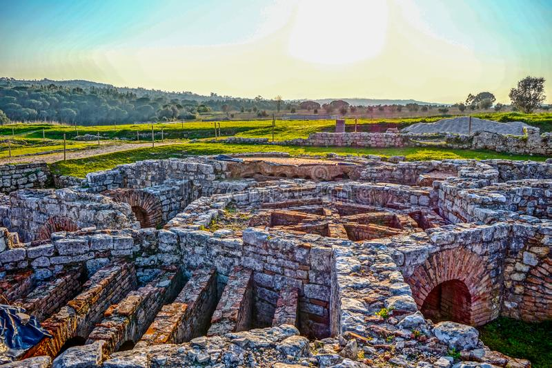 Ruins of city water channels at Conimbriga, Portugal royalty free stock photo