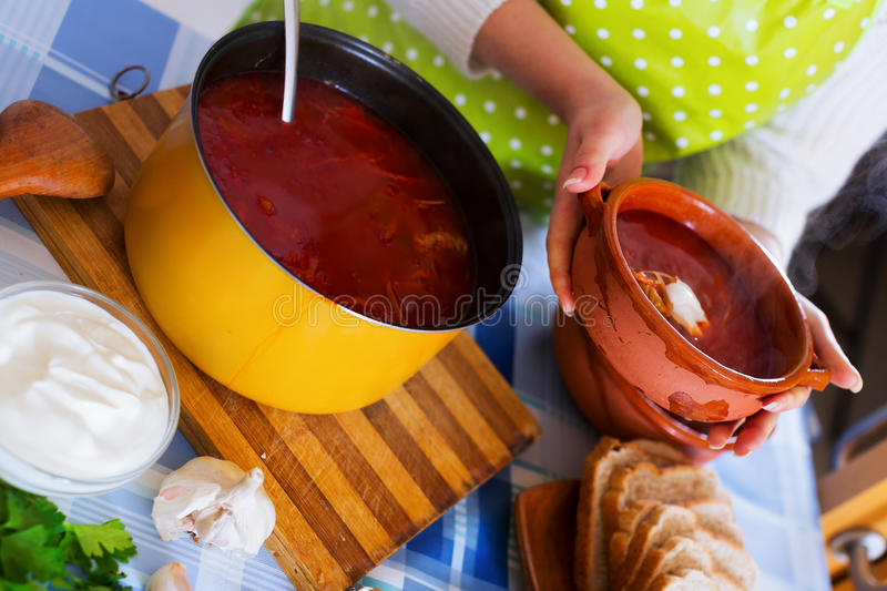 Hot beetroot soup stock image