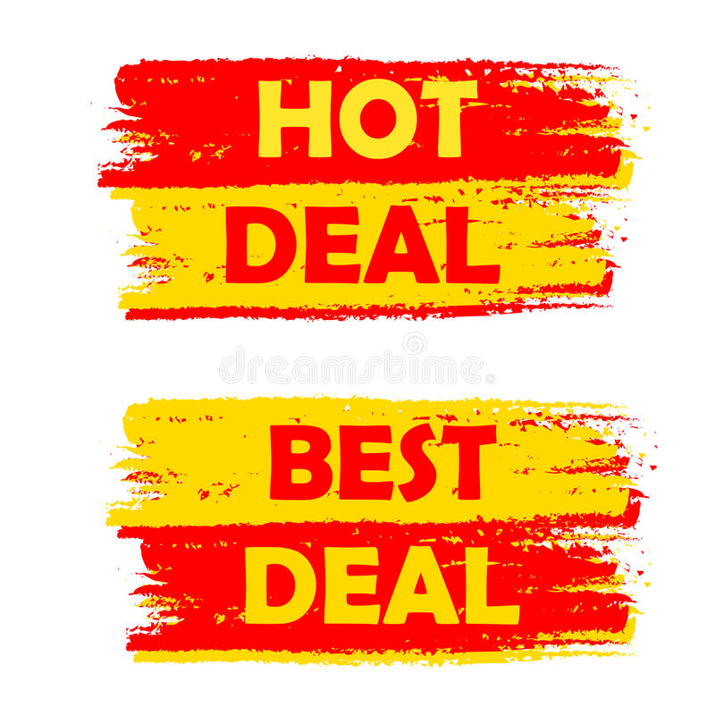 Hot and best deal, yellow and red drawn labels royalty free illustration