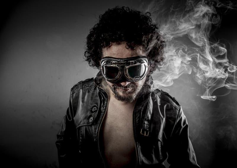 Download Hot, Biker With Sunglasses Era Dressed Leather Jacket, Huge Smok Stock Photo - Image: 38278918