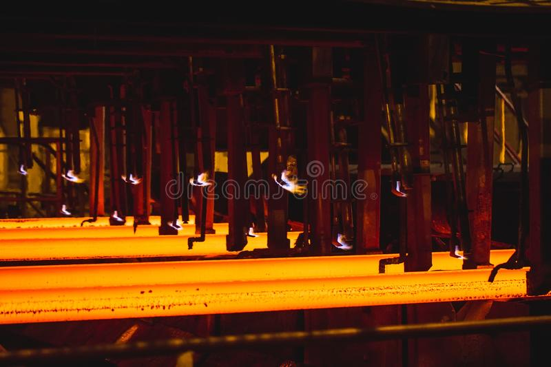Hot billet bloom continuous casting, also called strand casting.  stock photos