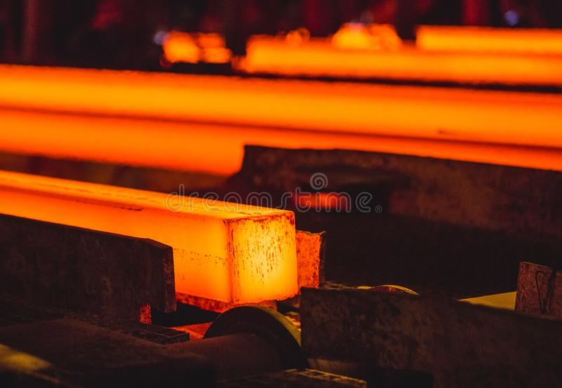Hot billet bloom continuous casting, also called strand casting.  royalty free stock images