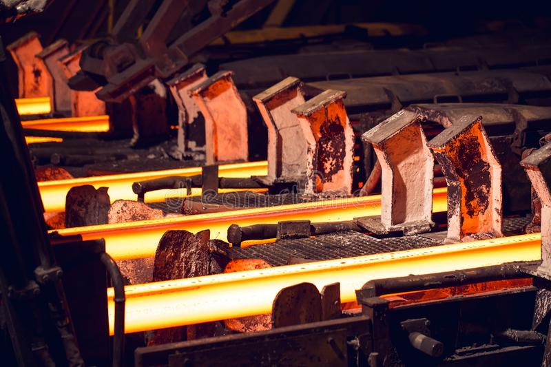 Hot billet bloom continuous casting, also called strand casting.  stock photo