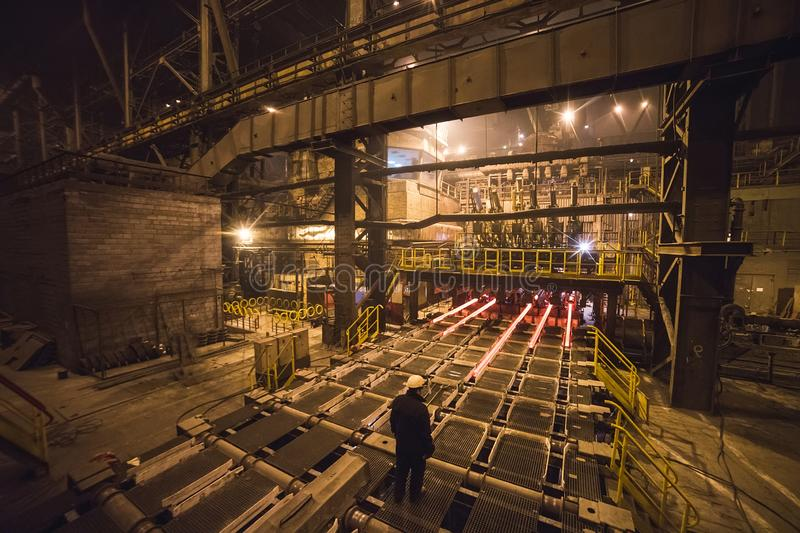 Hot billet bloom continuous casting, also called strand casting.  royalty free stock image