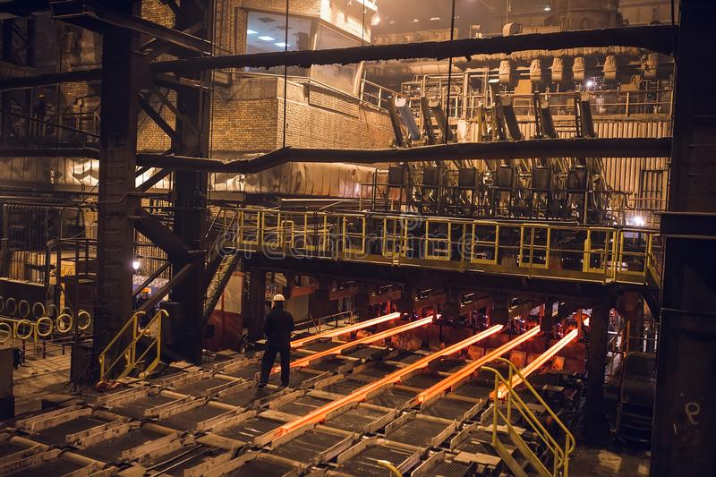 Hot billet bloom continuous casting, also called strand casting. Hot billet bloom continuous casting, also called strand casting royalty free stock photo