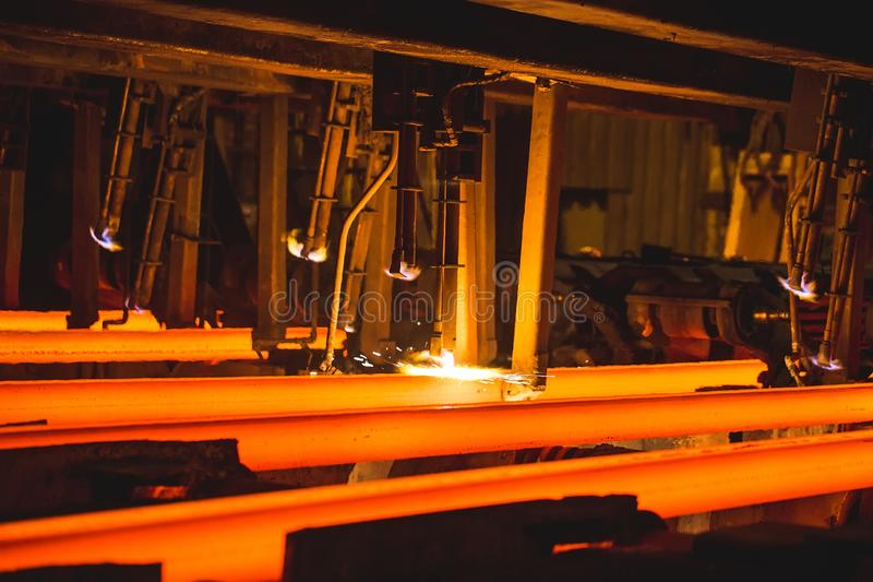 Hot billet bloom continuous casting, also called strand casting. Hot billet bloom continuous casting, also called strand casting stock photos