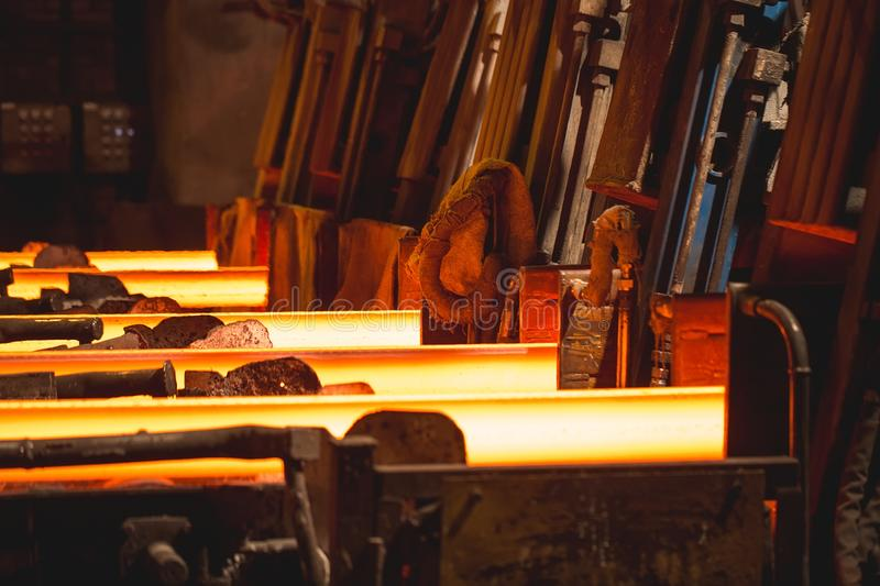Hot billet bloom continuous casting, also called strand casting. Hot billet bloom continuous casting, also called strand casting royalty free stock image
