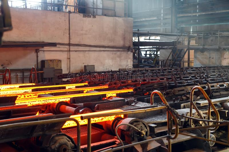 Hot billet bloom continuous casting, also called strand casting. Hot billet bloom continuous casting, also called strand casting royalty free stock photography