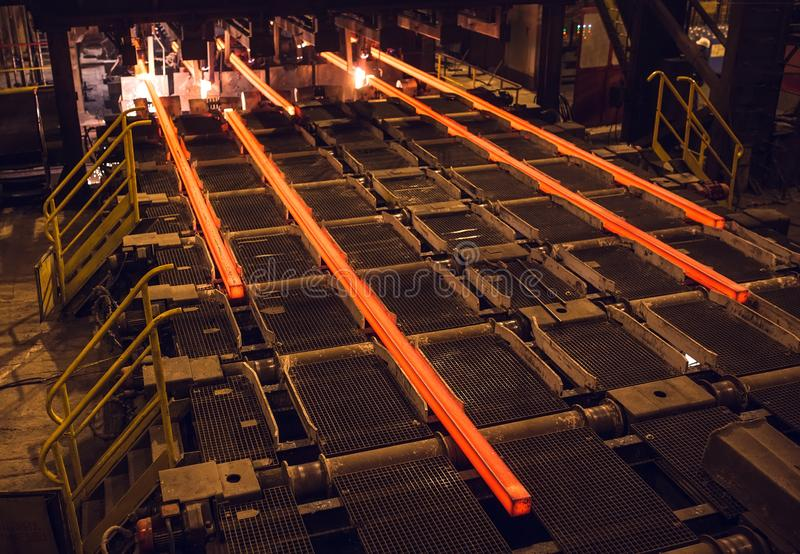 Hot billet bloom continuous casting, also called strand casting.  stock photography