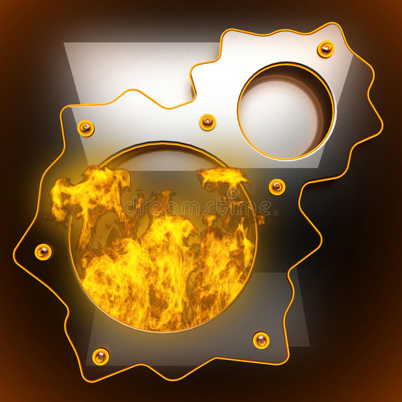 Hot black metal background with fire stock image