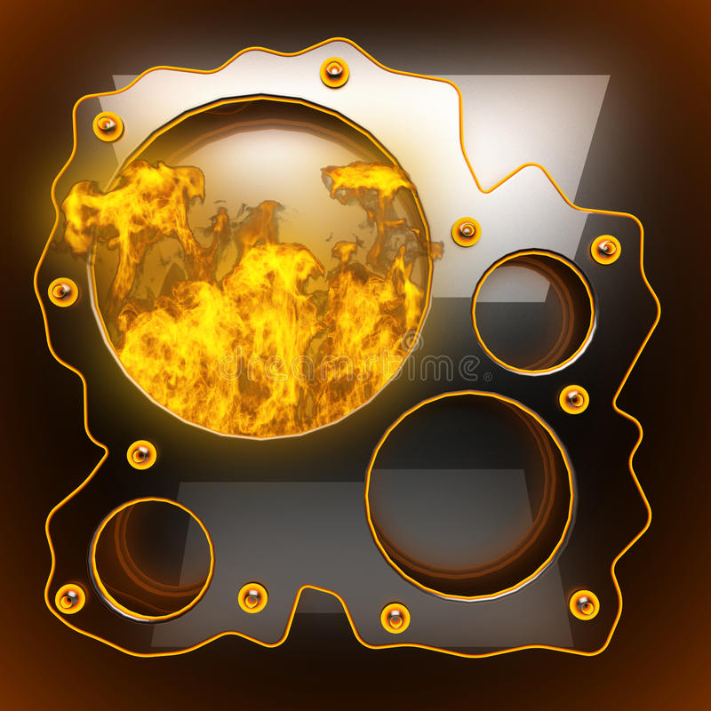 Hot black metal background with fire stock photo