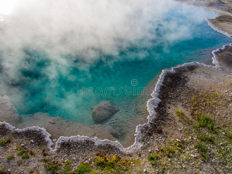 Hot blue pool in West Thumb Basin, Yellowstone. National Park stock photo