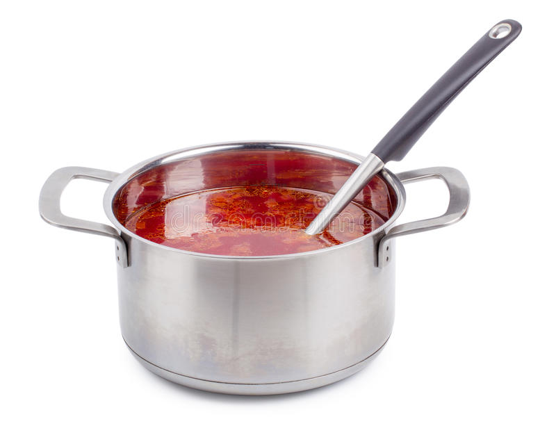Hot borsch in a steel pan isolated. On a white background royalty free stock photography
