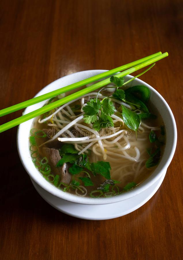 A beautiful bowl of delicious Pho a popular street food royalty free stock images