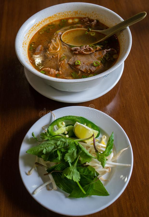 Hot bowl of spicy Pho a popular street food royalty free stock photo