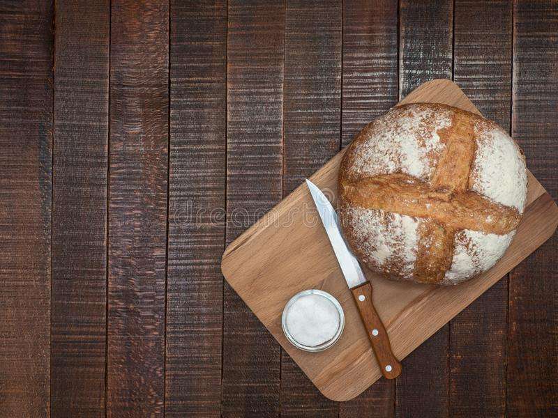 Hot bread and salt. Prepared according to ancient recipes in the oven royalty free stock image