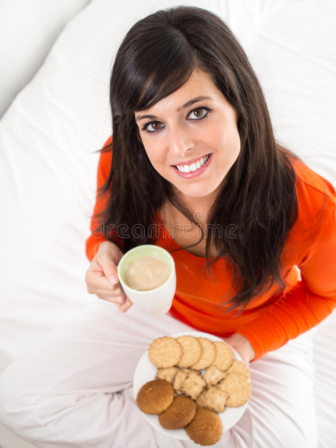 Download Hot breakfast in bed stock photo. Image of hand, face - 27541578