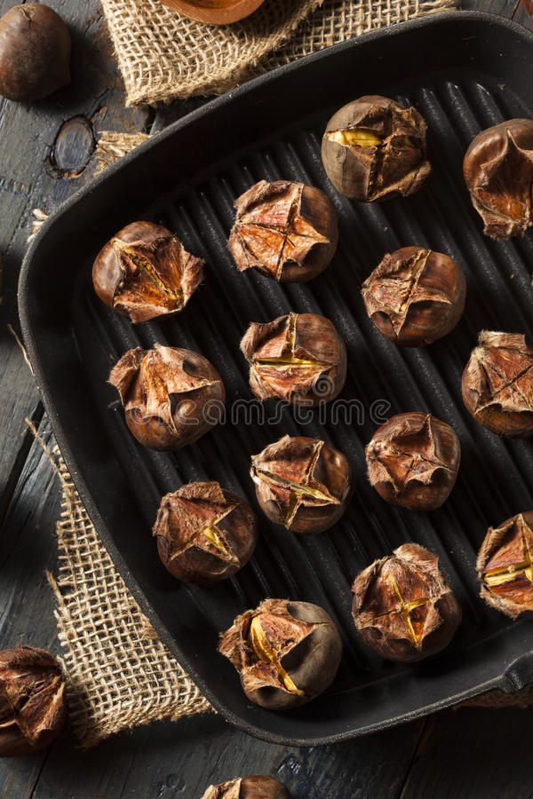 Hot Brown Roasted Chestnuts. Ready to Eat royalty free stock photos