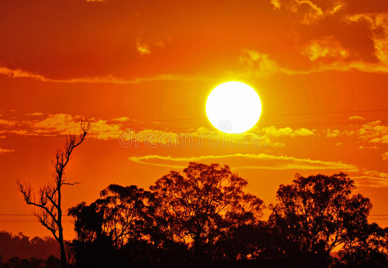 Hot burning sun Australian outback summer. A great background image showing the strength and might of the hot burning sun of the Australian outback during the royalty free stock photography