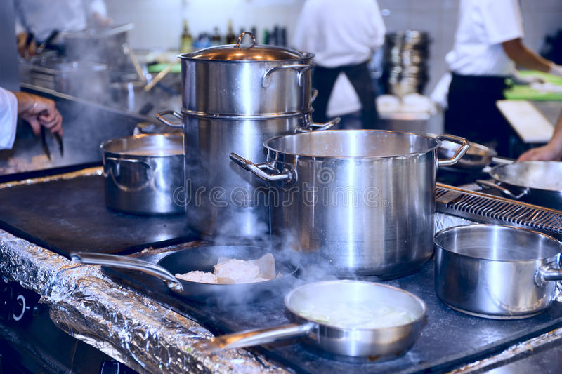 Hot busy kitchen stock photo